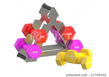 Dumbbells stack, 3D rendering 22706930