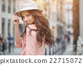 pretty trendy girl posing at the city in Europe, 22715072