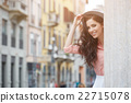 pretty trendy girl posing at the city in Europe, 22715078