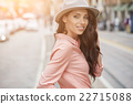 pretty trendy girl posing at the city in Europe, 22715088