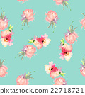 Strawberry flowers seamless pattern watercolor 22718721
