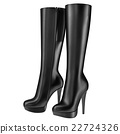 Black leather boots with zipper  22724326