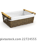 Empty wicker basket with fabric 22724555