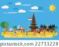 Flat design, Happy family riding bicycles in Indon 22733228