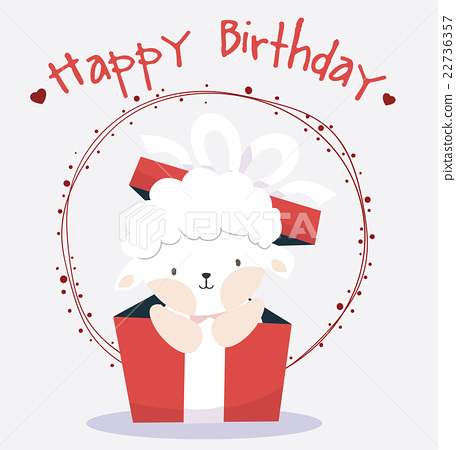 Cute Sheep In Happy Birthday Card Stock Illustration 22736357