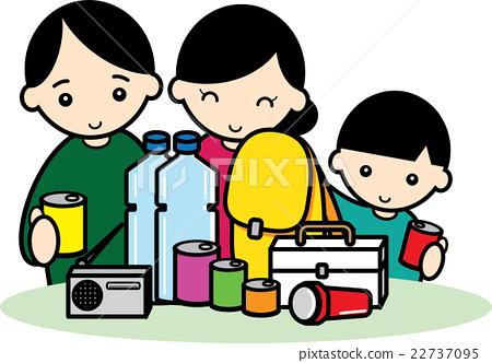 Families preparing disaster-friendly goods 22737095