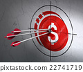 Banking concept: arrows in Dollar Coin target on 22741719