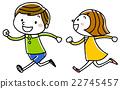 插图素材:孩子们笑着跑 22745457