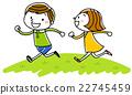 일러스트 소재 : 어린이 웃는 얼굴로 달리는 22745459