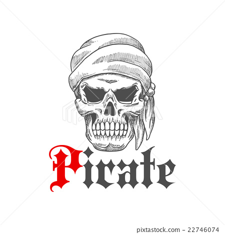 Dead Pirate Skull Symbol For Tattoo Design Stock Illustration