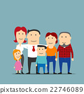 Happy multigenerational family cartoon portrait 22746089