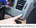 Hand finger press button eco mode inside car. 22750322