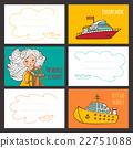 Colorful vector card cute girl and ships. 22751088