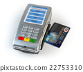 POS terminal with credit card isolated on white. 22753310