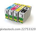 CMYK cartridges for colour inkjet printer isolated 22753320