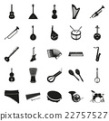 Collection of black musical instruments 22757527