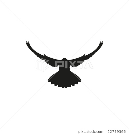 dove silhouette on white background, vector - Stock