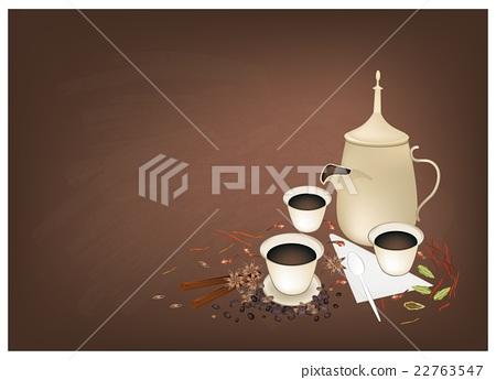 Traditional Arabic Coffee Spiced on Chalkboard 22763547