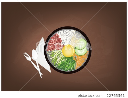 Korean Mixed Rice with Meat, Vegetables Egg  22763561