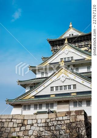 Osaka castle under blue sky in Japan 22767120