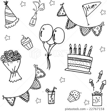 childrens party doodle vector art 22767158