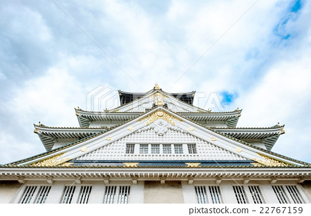 Osaka castle under blue sky in Japan 22767159