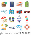 Vacation and Tourism Flat Icons Set 22769992