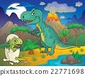 Night landscape with dinosaur theme 3 22771698