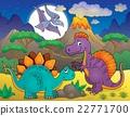 Night landscape with dinosaur theme 5 22771700