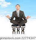 businessman, sitting, meditation 22774347