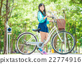 Asian cute woman with bicycle in the garden. 22774916