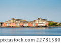 Large warehouse along river 22781580