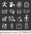 Diet and exercise icons. Vector illustrations. 22786619