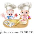 Cartoon Chef Kids Baking 22786891