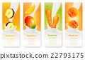 Set of banners with fruit and milk. Vector. 22793175