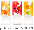 Three labels with different fruit and milk. 22793178