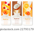Three labels with different fruit and milk. 22793179