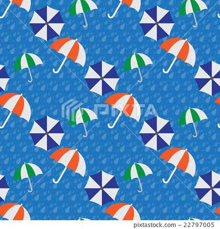 Seamless umbrellas in the rain 22797005
