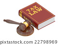 Wooden Gavel and Tax Law Book, 3D rendering 22798969
