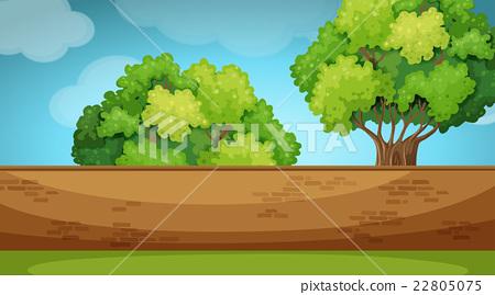 Scene with brickwall in the garden 22805075