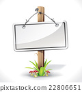 Signs Board hanging with wood pole on a grass 22806651