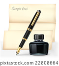 Fountain pen and Ink bottle with letter paper. 22808664
