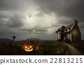 Halloween background with old house 22813215