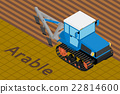 Agricultural tractor with plow tillage a field. 22814600