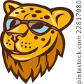 Cheetah Head Sunglasses Smiling Cartoon 22817080
