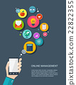 Online management flat illustration with icons 22822355