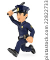 3D Policeman running with baton in hand 22822733