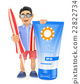 3D Man in shorts with umbrella towel and sunscreen 22822734