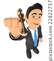 3D Businessman with chess king. Strategist 22822737