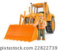 3D Construction worker with a backhoe 22822739